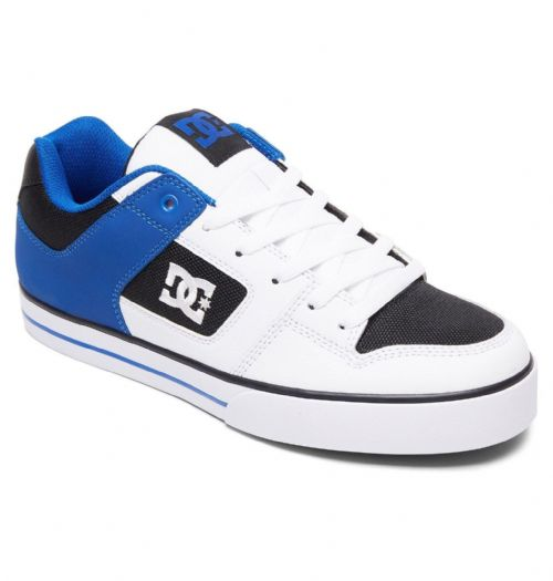 DC SHOES MENS TRAINERS.NEW PURE WHITE BLUE LEATHER SKATE SHOES LACE UPS 8W 60 IB